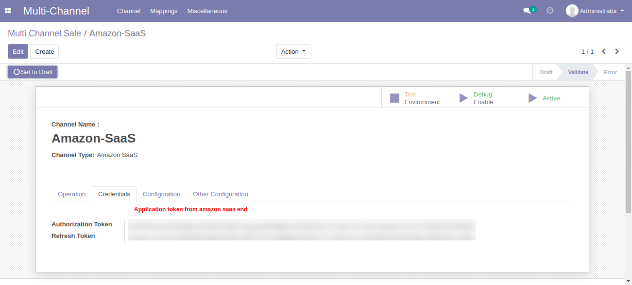 Test Connection of Odoo Multichannel Amazon Saas Connector
