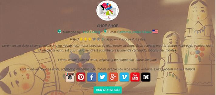 vendor profile page